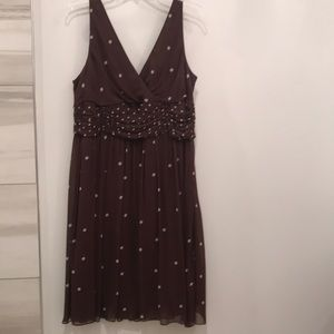 Brown and white polka dot cocktail dress size 16